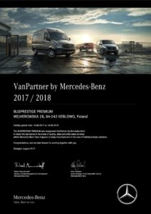 Busprestige certyfiakt VanPartner by Mercedes-Benz
