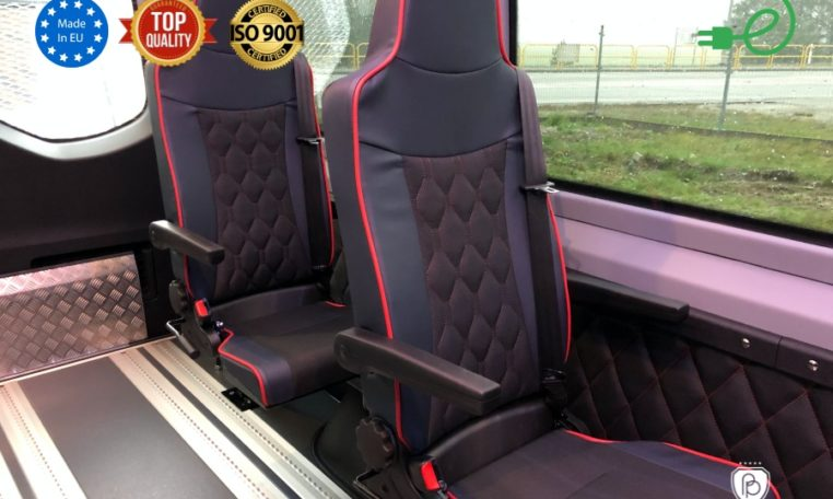 VW e-Crafter 35 electric bus made by Buspresitge folding seats