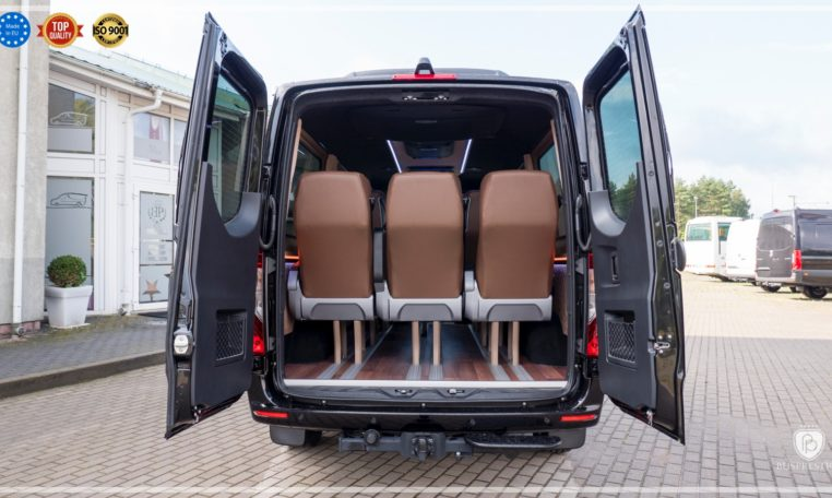 Mercedes-Benz Sprinter Luxury Van made by Busprestige 9 passenger van rear seat