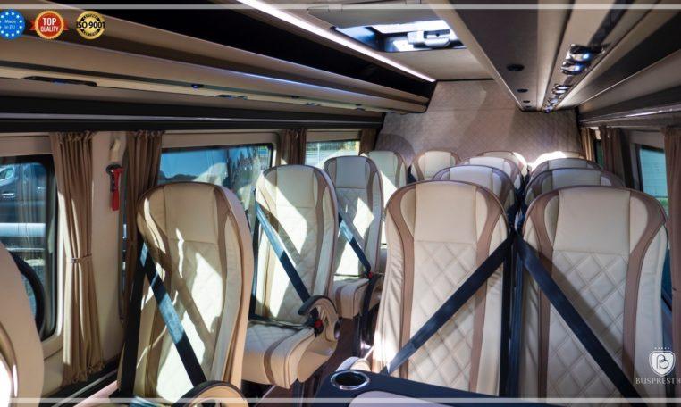Mercedes-Benz Sprinter Bus 19 pax made by Busprestige luxury interior design beige interior composition